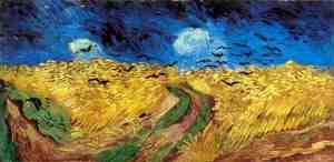 Campos de trigo com corvos