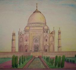 Taj Mahal em lápis de cor por Cleide Sousa
