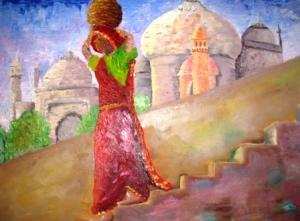 Meu olhar sobre o Taj Mahal - óleo sobre tela