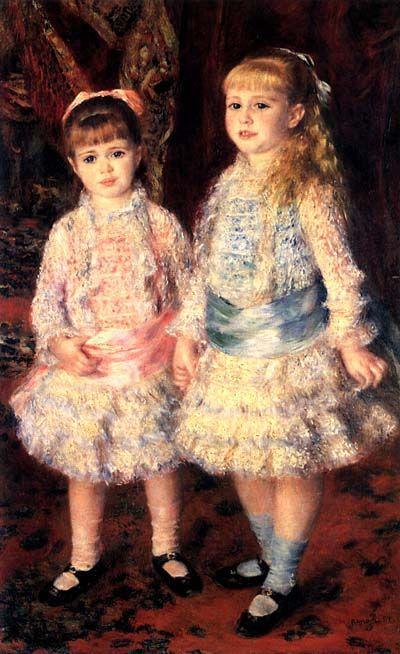 """Rosa e Azul - 1881 """"Parti imediatamente após terminar o retrato das meninas Cahen, tão cansado que nem lhe sei dizer se a pintura é boa ou ruim."""" - Renoir - Deixei essa tela por último, porque ela está mais perto de nós, já que faz parte do acervo do Museu de Arte de São Paulo."""