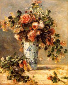 Roses et jasmin-dans le vase de Delft - Renoir