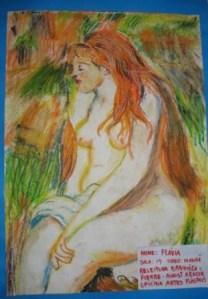Releitura de Flávia, 12 anos - pastel oleoso sobre papel canson