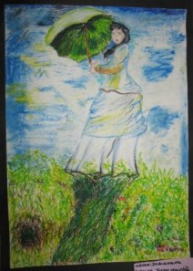 Releitura de Indianara, 12 anos - pastel oleoso e lápis de cor sobre papel