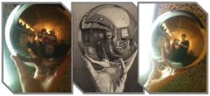 Era permitido até fazer um auto retrato estilo Escher... com cenário igual e tudo!